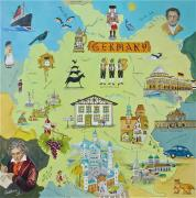 Map Of The World Painting Posters - Germany Poster by Virginia Ann Hemingson