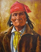 Cowboys And Indians Painting Framed Prints - Geromino In Capture Framed Print by Jeroem Vogschmidt