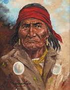 Cowboys And Indians Painting Framed Prints - Geronimo Framed Print by Jeroem Vogsmcnidt