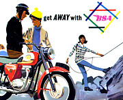 Motorcycle Art Prints - Get Away With BSA 1964 Print by Mark Rogan