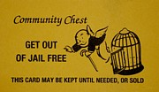 Cartoon Art Posters - Get Out Of Jail Free Card Poster by Rob Hans