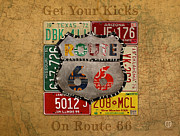 Mexico Mixed Media Framed Prints - Get Your Kicks on Route 66 Vintage License Plate Art on Worn United States Highway Map Framed Print by Design Turnpike