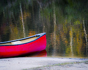 Green Canoe Prints - Getaway Canoe Print by Carolyn Marshall