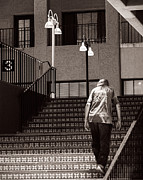 Stairs Downtown Prints - Getting Out Of the Hot Sun Print by Royce Howland