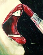 Lips  Paintings - Getting Ready For Prom by Shana Rowe