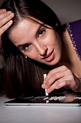 Young Money Originals - Getting ready for the party. Young woman sniffing cocaine. by Peter Bernik