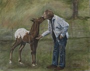 Colts Paintings - Getting to Know You by Elizabeth  Ellis