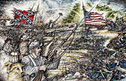 Confederate Flag Drawings Posters - Gettysburg Ashs at the Angle Poster by Scott and Dixie Wiley