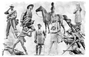 Confederate Monument Posters - Gettysburg Battlefield Monuments Black and White Poster by Randy Steele