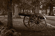 Battlefield Photos - Gettysburg Cannon B W by Steve Gadomski
