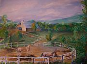 Farms Drawings Framed Prints - Gettysburg Farm Framed Print by Eric  Schiabor