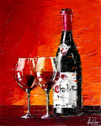 French Wine Bottles Painting Posters - Gevrey-Chambertin Poster by EMONA Art