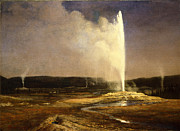 Famous Artists - Geysers in Yellowstone by Albert Bierstadt