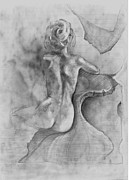 Nude Drawings Drawings Posters - Gf45 Poster by Dayton Claudio