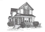 Historic Home Drawings Metal Prints - GH Home Metal Print by Barbara Carlson