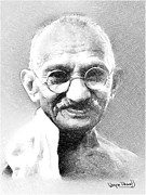 Leader Drawings Prints - Ghandi Print by Wayne Pascall