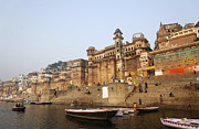 Ganges Art - Ghats and boats on the River Ganges at Varanasi in India by Robert Preston