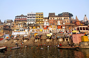 Ghats In The River Ganges At Varanasi In India Print by Robert Preston