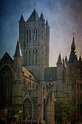 Rooftop Prints - Ghent Skyline Print by Joan Carroll