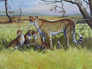 Cheetah Painting Framed Prints - Ghepardi Framed Print by Roberto Bianchi