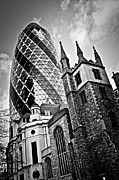 Landmarks Photo Framed Prints - Gherkin building and church of St. Andrew Undershaft in London Framed Print by Elena Elisseeva