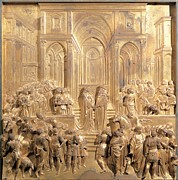 Renaissance Sculpture Framed Prints - Ghiberti Lorenzo, The Meeting Of King Framed Print by Everett