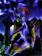 Creepy Digital Art Metal Prints - Ghost at a Cemetary Metal Print by Alexandra Jordankova