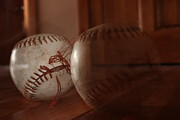 Baseball Pyrography Metal Prints - Ghost Baseball Metal Print by Emily Newby