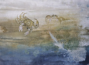 Fish Rubbing Prints - Ghost Crab Print by Nancy Gorr