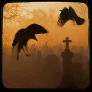 Gothic Graveyard Prints - Ghost Crows 2 Print by Gothicolors And Crows