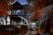 Haunted Barn Posters - Ghost Poster by Debra and Dave Vanderlaan