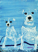Abstact Realism Paintings - Ghost Dogs by Terry Lewey