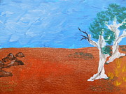 Aboriginal Art Paintings - Ghost Gum Trees by Janet Watson by Janet Watson