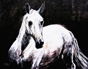 White Horses Mixed Media Prints - Ghost Horse Modern Painting Print by Ginette Callaway