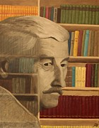 Library Painting Originals - Ghost in the Library  William Faulkner by Patrick Kelly