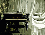 Curtains Mixed Media Posters - Ghost Piano Poster by Christine Maeda