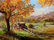 Autumn Landscape Paintings - Ghost Ranch Old Wagon by Gary Kim