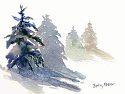 Snowy Trees Paintings - Ghost Spruce by Betsy Bear