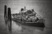 Wooden Ship Prints - Ghost Steamer in BW Print by Debra and Dave Vanderlaan