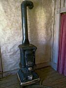 Old West Ghost Towns Photos - Ghost Town Baker Pot Belly Stove by Daniel Hagerman