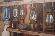 Old Barn Paintings - Ghost Town Lanterns by Wendy Russell