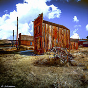 Wooden Building Mixed Media Prints - Ghost Towns in the SouthWest Print by Nadine and Bob Johnston