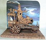 Night Sculpture Posters - Ghost Tractor Poster by Stuart Swartz