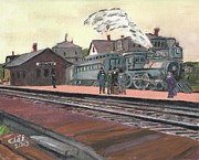 Boston Ma Painting Metal Prints - Ghost Train Metal Print by Cliff Wilson