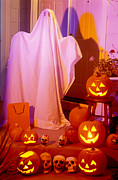 Jack O Lantern Photos - Ghost with pumpkins by Garry Gay