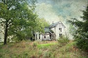 Haunted House Greeting Card Posters - Ghostly Abandoned Home Poster by Liane Wright