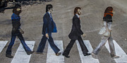 Crosswalk Posters - Ghosts of Abby Road Poster by Debra and Dave Vanderlaan