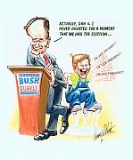 Caricature Drawings - GHWB Election by Harry West