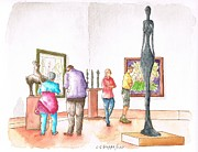 Art Museum Originals - Giacometti at  Norton Simon-Museum in Pasadena - California by Carlos G Groppa