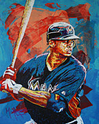 Athlete Painting Metal Prints - Giancarlo Stanton Metal Print by Maria Arango